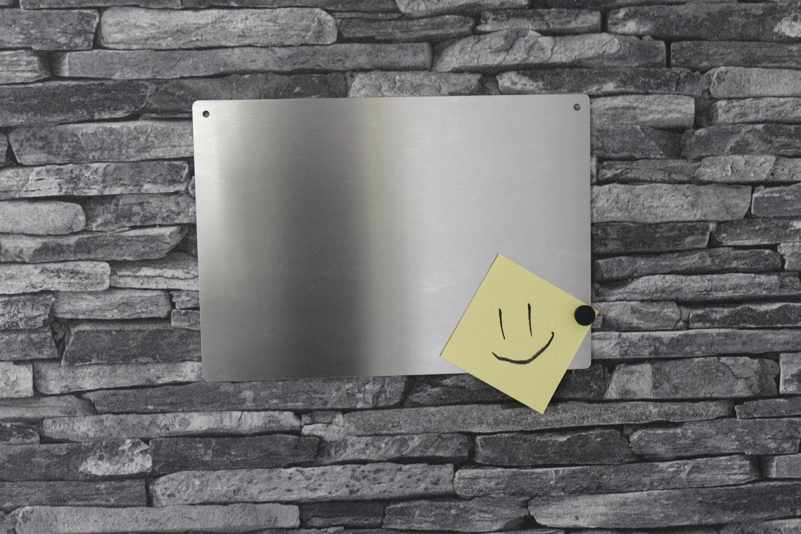 edelstahl magnettafel din a4 mit 5 magneten ebay. Black Bedroom Furniture Sets. Home Design Ideas